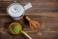 Matcha set with space for text Stock Photo