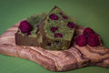 Matcha tea and raspberry cake Royalty Free Stock Photo