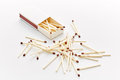 Matchbox and some matches over a white backdrop Stock Photography