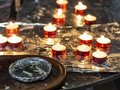 Matches and candles in a church Royalty Free Stock Photo