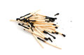 Matches pile of used isolated on white background Stock Images