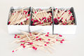 Matches stacking a few wooden Royalty Free Stock Photography