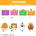 Matching children education game, kids activity. Match animals with box
