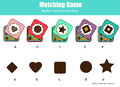 Matching children educational game with chocolate sweets. Match by shape kids activity