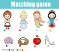 Matching children educational game. Match fairy tales princess with objects