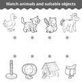 Matching game for children. Match animals and suitable objects