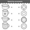 Matching game for children. Match plates and mugs by ornament