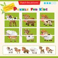 Matching game for children. Puzzle for kids. Match the right parts of the images. Baby animals. Little calf, lamb, fawn, kid Royalty Free Stock Photo
