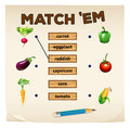 Matching game with fresh vegetables