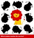 Matching young cartoon lion with the right shadow Royalty Free Stock Photo