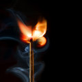 Matchstick rose isolated on black copy space Royalty Free Stock Photos
