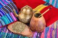 Mate in calabash �up from and teapot with dry leaves traditional drink of peru brazil and argentina Royalty Free Stock Photos