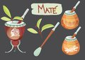 Mate tea vector set and accessories Stock Photos