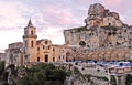 Matera church and cave dwellings in basilicata Royalty Free Stock Photo