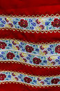 Material with romanian traditional embroidery used to womens clothes Stock Photos