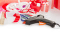 Materials for packaging gifts set of the glue gun production of the gift boxes isolated on white Stock Image