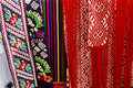 Materials with romanian traditional embroidery from various areas of the country Stock Photography