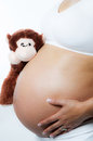 Maternity beautiful pregnant women holding her belly and a monkey toy Royalty Free Stock Photos