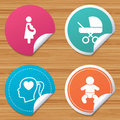 Maternity icons. Baby infant, pregnancy, buggy.