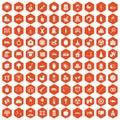 100 maternity leave icons hexagon orange