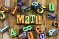 Math arithmetic count letterpress typography font numbers Royalty Free Stock Photo