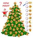 Math education for children. Count cakes quantity in Christmas tree. Write numbers in circles. Developing counting skills.