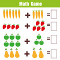 Math educational game for children, addition mathematics worksheet