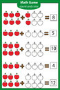 Math educational game for children. Counting equations. Addition worksheet. Royalty Free Stock Photo