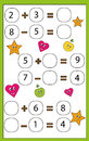 Math educational game for children. Learning counting and algebra kids activity. Complete the mathematical equation