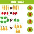 Math educational game for children, multiplication mathematics worksheet