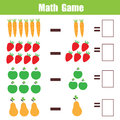 Math educational game for children, subtraction mathematics worksheet Royalty Free Stock Photo
