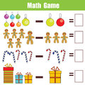 Math educational game for children, subtraction worksheet, christmas theme Royalty Free Stock Photo
