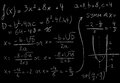 Math equation solving a and drawing a graph Stock Photo