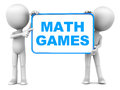 Math games text on a hand held banner presented by little d men on white background Royalty Free Stock Photography