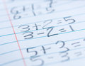Math problems with simple addition and subtraction Stock Image