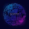 Math round bright symbol