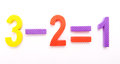 So this is math three minus two equals one shown in children s foam numbers on white background Royalty Free Stock Images