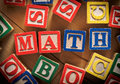 Math word in toy blocks Royalty Free Stock Photos