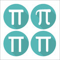 Mathematic Pi icon flat set. Vector illustration Royalty Free Stock Photo