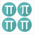 Mathematic Pi icon flat set. Vector illustration Royalty Free Stock Photo