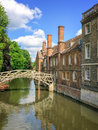 Mathematical bridge on the river Cam and the Queen`s college university of Cambridge, in Cambridge U Royalty Free Stock Photo