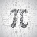 The mathematical constant pi many digits illustration Stock Photo