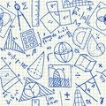 Mathematical doodles seamless pattern on school squared paper Royalty Free Stock Image