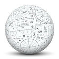 Mathematical formulary imprints on a white sphere formula imprint ball useful for advertising and tutoring teachers and students Stock Photos