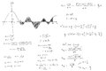 Mathematical formulas and graphs sketched