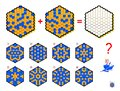 Mathematical logic puzzle game for children and adults. What sign should be in empty hexagon? Draw him.