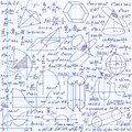 Mathematical vector seamless pattern with geometrical figures plots and equations handwritten on the grid copybook paper endless Stock Image