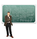 Mathematician near chalkboards with formulas scientist Stock Photos