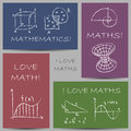 Mathematics chalky banners illustration of doodles on Royalty Free Stock Photography