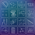 Mathematics chalky icons illustration of white doodles Royalty Free Stock Photos